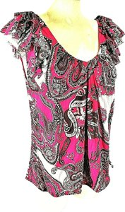 INC International Concepts Stretch Top Women's Pink Paisley