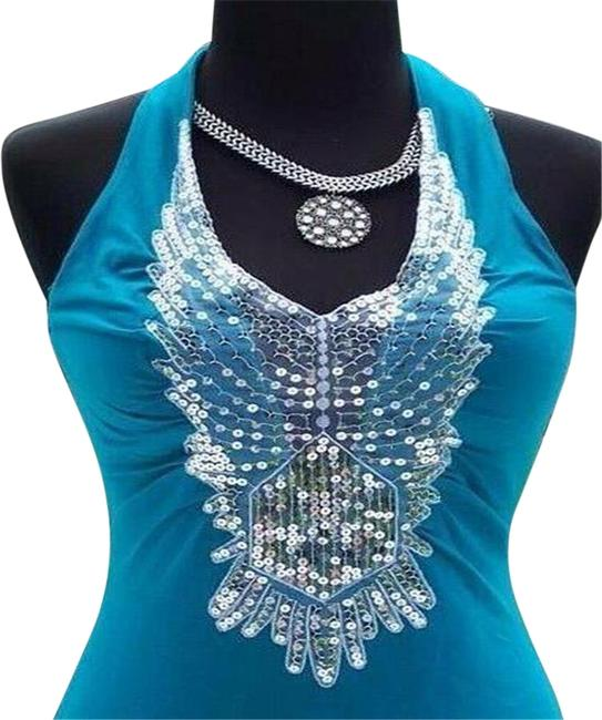 Item - Blue L Ruched Peek A Boo Sequin Plung 2 Navel Stretch S/M/L Halter Top Size 10 (M)