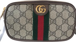 Gucci Ophidia Fabric & leather Zip Top Wristlet