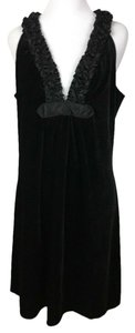 Max Studio Ruffle V-neck Velvet Littleblackdress Dress
