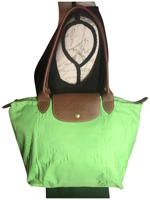 """Item - With Trim/Straps """"as Is"""" Bright Green/Brown/Gold-tone Hardware Nylon/Leather Tote"""