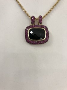 LeVian 14k Ruby onyx slide necklace