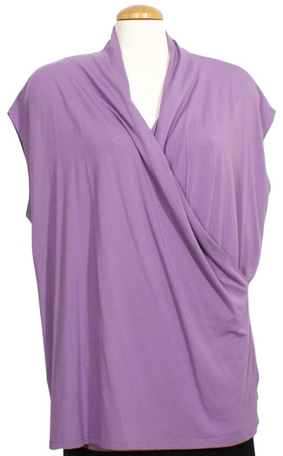 Lauren Ralph Lauren Cameo Purple Jersey Stretch Viscose Faux Wrap 2x Blouse Size 22 (Plus 2x) Lauren Ralph Lauren Cameo Purple Jersey Stretch Viscose Faux Wrap 2x Blouse Size 22 (Plus 2x) Image 1