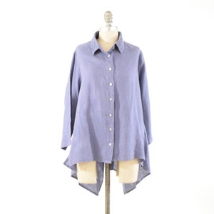 Cut Loose Button Down Oversized Handkercheif Top Blue