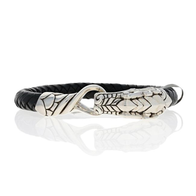 "Item - Silver Black New Legends Naga Leather 1/2"" Sterl E7145 Bracelet"