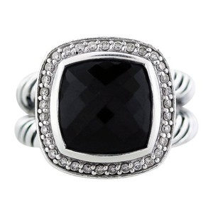 David Yurman Black Petite Albion Onyx with Diamonds 7 Mm Ring