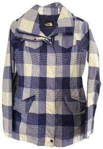 The North Face blue & white plaid Jacket