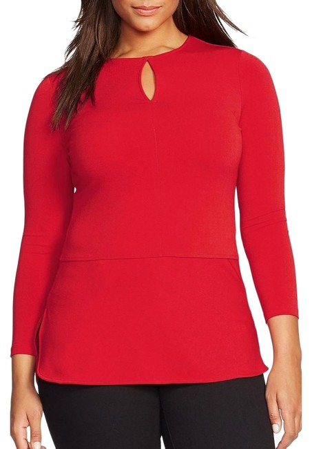 Item - Fall Red Jersey Stretch Crepe Keyhole Panel 3x Blouse Size 26 (Plus 3x)