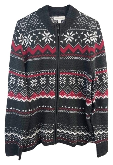 Item - Gray & Red Fair Isle Snowflake Full Zip Cardigan Size 16 (XL, Plus 0x)