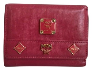 MCM Saffiano Leather Small Trifold Wallet W/ Photo ID Window & MCM Charms