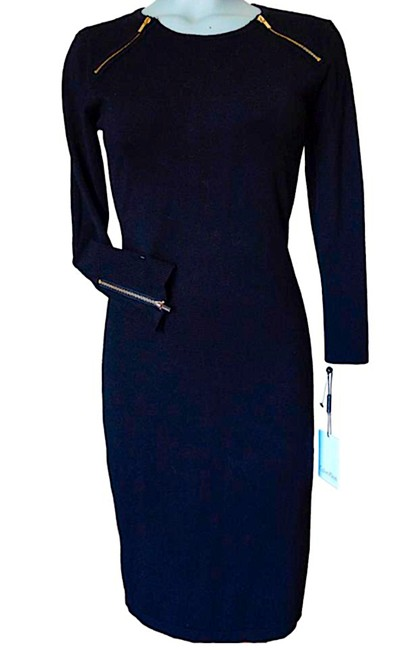Item - Black/Gold New with Tag Sheath Knit Zippers Mid-length Night Out Dress Size 4 (S)