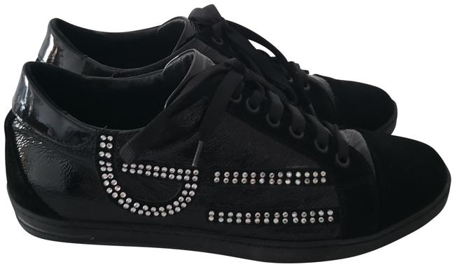 Item - Black Suede and Patent Leather Low-top Embellished with Rhinestones Sneakers Size EU 39 (Approx. US 9) Regular (M, B)