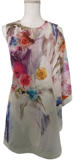 Item - Green Floral Asymmetrical Drape Bolty In Short Cocktail Dress Size 6 (S)