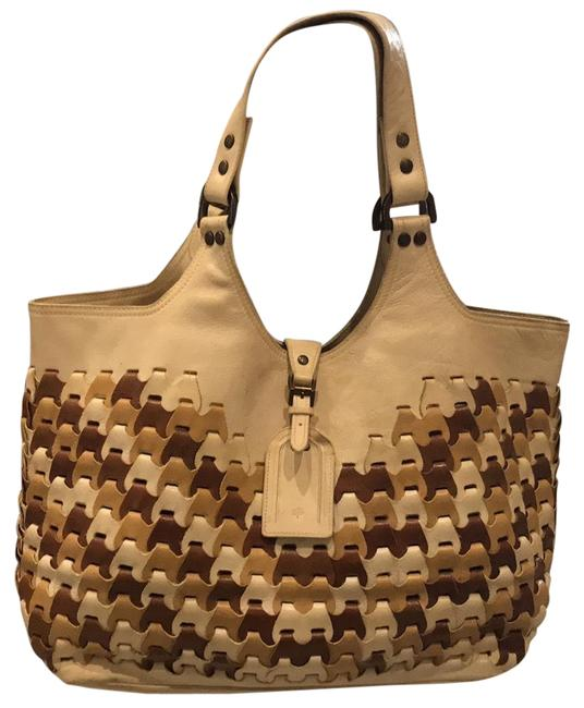 Item - Neutral Woven Ivory Camel & Brown Lambskin Leather Tote