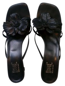 Baldi Cute Flower Whimsical Sexy Leather Black Flower Sandals
