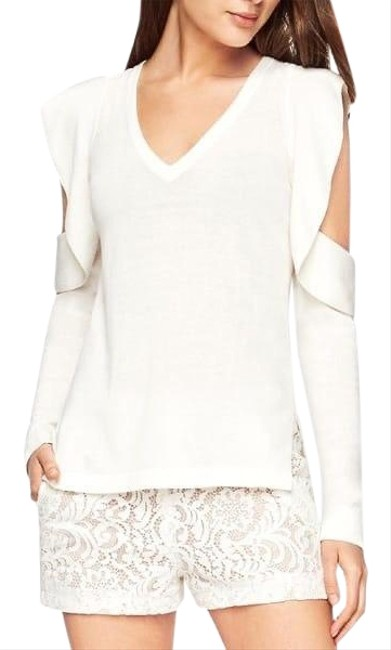 Item - Bcbg Max Azria Emile Knit Ruffled White Sweater