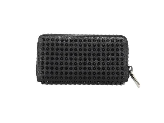 Item - Black / Red Color Long Round Zipper Leather Studs Wallet