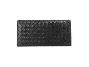 Bottega Veneta Bottega Veneta Nero Bifold Long Wallet Intrecciato Black Leather