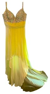 La Femme Prom Pagent Rinestones Bling Embellished Crystal High Low Wedding Gala Event Dance Yellow Dress