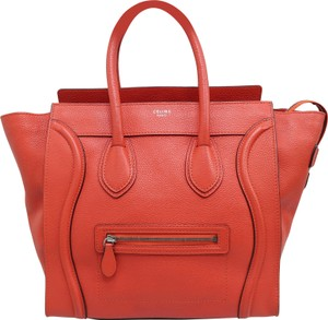 Céline Calfskin Luggage Mini Tote in Orange