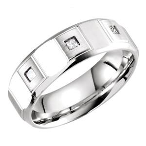 White 0.21 Ct Princess Men's Wedding Band