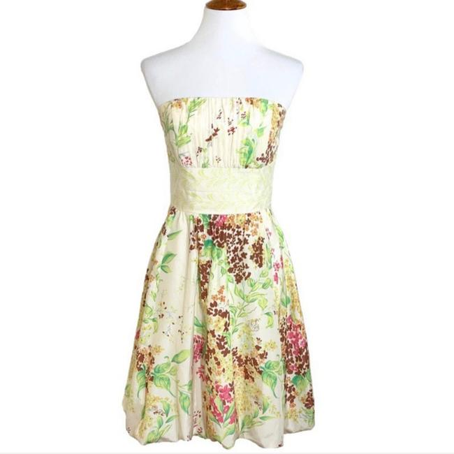 Item - Yellow Pink Cream Floral Strapless Mod Sundress Mid-length Short Casual Dress Size 6 (S)
