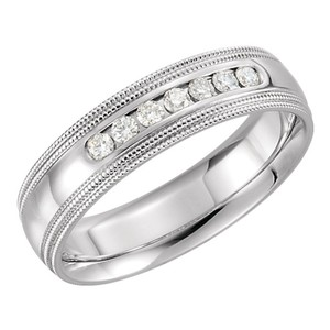 White 0.50 Ct Round Double Milgrain Men's Wedding Band
