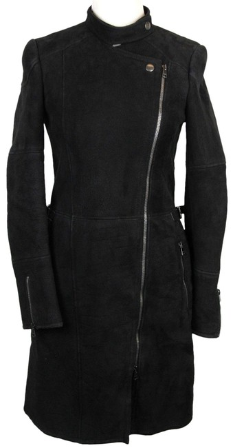 Item - Black Womens Long Shearling Leather Long Jacket 38 325417 1279 Coat Size 8 (M)