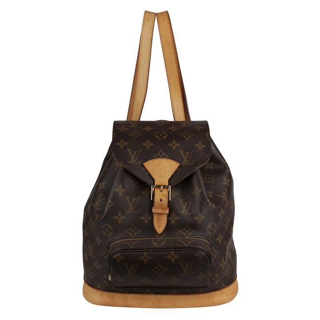Item - Montsouris Mm 8363 Brown Monogram Canvas and Calfskin Backpack