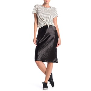 Poof! Apparel Monochrome Satin Elastic Stretchy Skirt Black