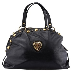 Gucci Babouska Studded Leather Tote in Black