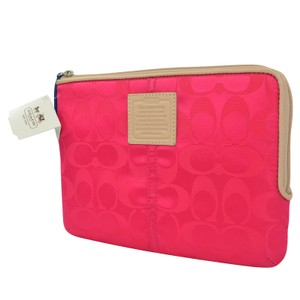 Coach Skinny Wallet Signature Hot Pink Clutch