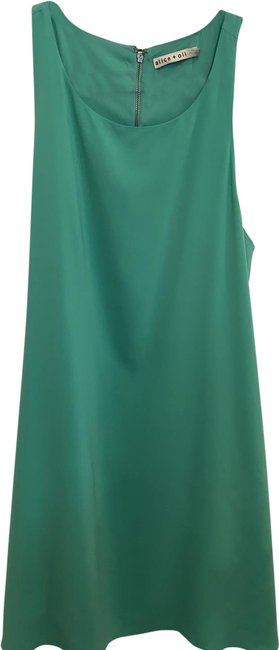 Item - Green Silky Mid-length Short Casual Dress Size 6 (S)