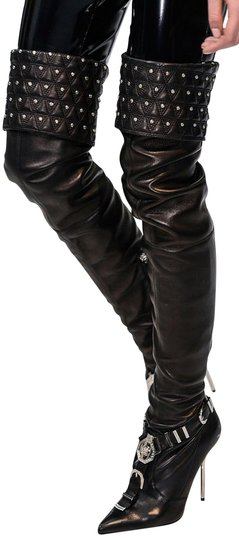 Versace Black Leather Thigh High Boots