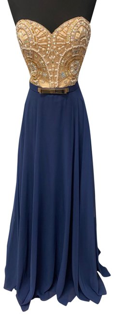 Item - Navy/ Nude 6556 Long Formal Dress Size 6 (S)