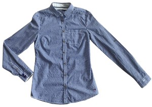 Massimo Dutti Button Down Shirt blue and white Vichy