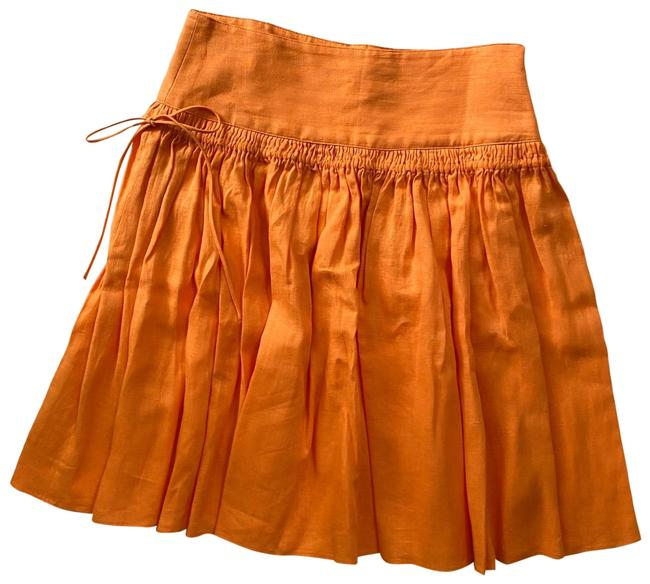 Item - Orange Linen Large Length: 23 Inches Like New No Visible Sign Of Wear. Skirt Size 12 (L, 32, 33)