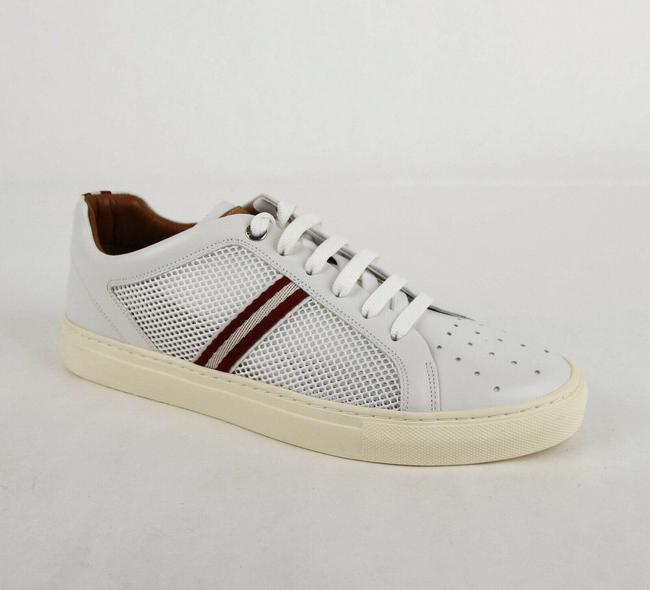 Item - White Leather and Mesh Sneaker with Red/White Web Details Us 9d/Eu 8 Herk Shoes
