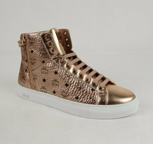 MCM Champagne Gold Metallic Coated Canvas High Top Sneaker Eu 41/Us 8 Mex8amm52t Shoes