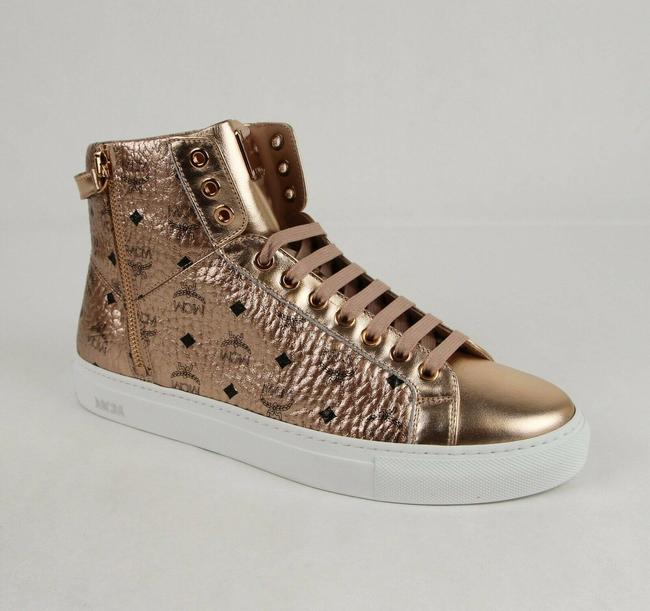 Item - Champagne Gold Metallic Coated Canvas High Top Sneaker Eu 41/Us 8 Mex8amm52t Shoes