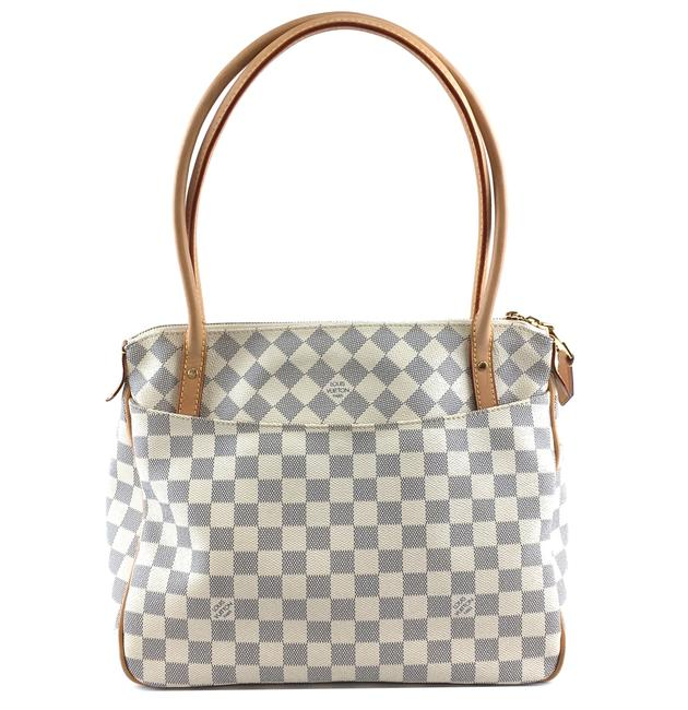 Louis Vuitton Figheri Pm Zip Zipper Top Tote Work Everyday White Grey Damier Azur Canvas Shoulder Bag Louis Vuitton Figheri Pm Zip Zipper Top Tote Work Everyday White Grey Damier Azur Canvas Shoulder Bag Image 1