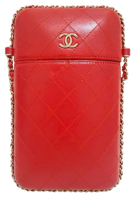 Item - Wallet on Chain Clutch Quilted with Chain Woc Red Gold Lambskin Leather Cross Body Bag