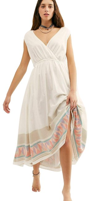 Item - New White Endless Summer Lulu Embroidered A-line Open Back Midi Long Short Casual Dress Size 10 (M)