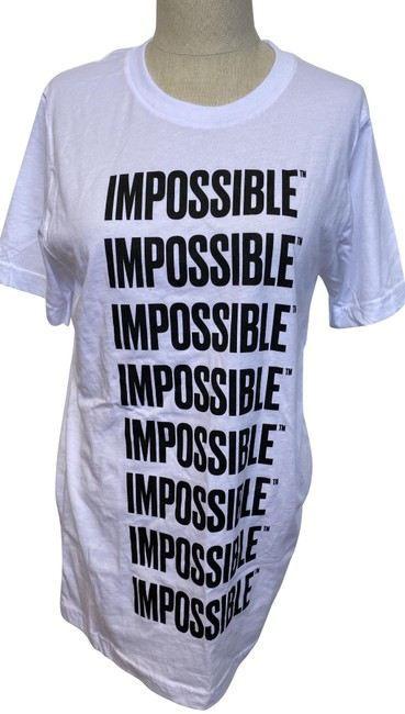 "Item - White & Black ""Impossible"" Cotton Small Tee Shirt Size 6 (S)"