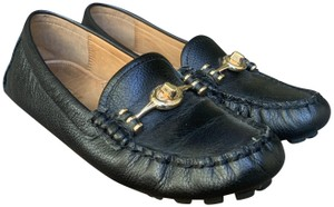 Coach Padded Insole Leather Lining Rubber Sole Loafers Black Flats