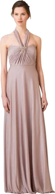 Item - Mauve Stone Jersey Demi Convertible Strapless Pleat Bridesmaids Gown Long Night Out Dress Size 6 (S)