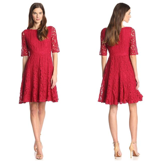 Item - Red 12 Fit & Flare Lace #553a Mid-length Formal Dress Size 4 (S)