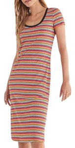 Red Pink Maxi Dress by Urban Outfitters Striped Ribbed Knit Fitted