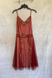 BCBGMAXAZRIA Merlot Slip with Netting Over Lay with Embellishments Floral Feminine Bridesmaid/Mob Dress Size 4 (S)