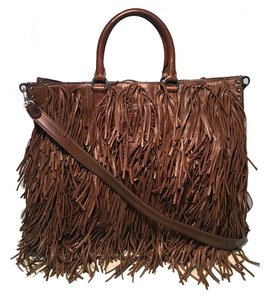 Prada Fringe Fringe Leather Leather Tote in brown